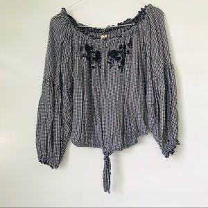 Hollister off the shoulder gingham blouse
